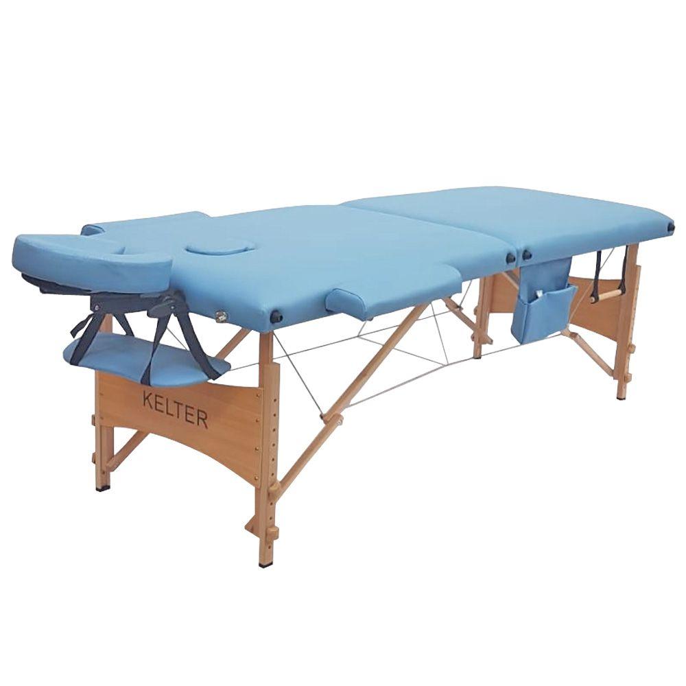Mesa Maca De Massagem Divã Dobrável Com Regulagem De Altura Azul Kelter KM103