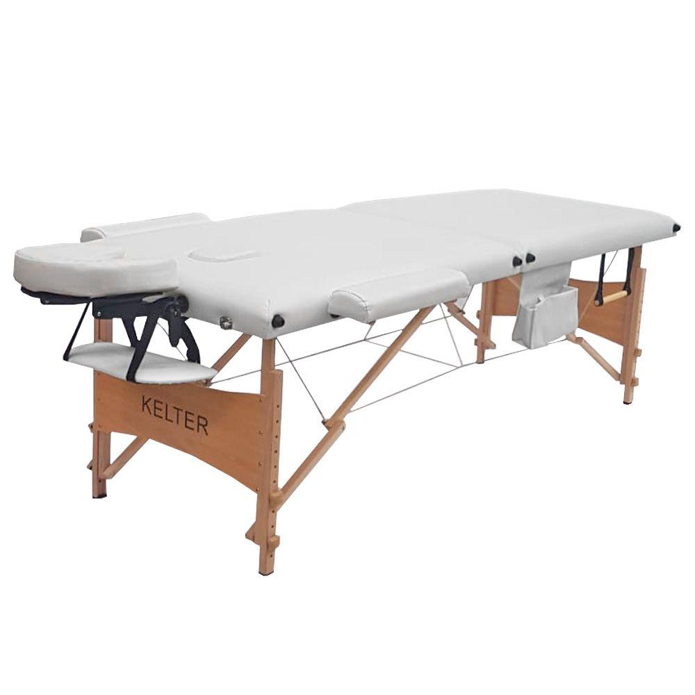 Mesa maca de massagem divã dobrável com regulagem de altura branca kelter Km101