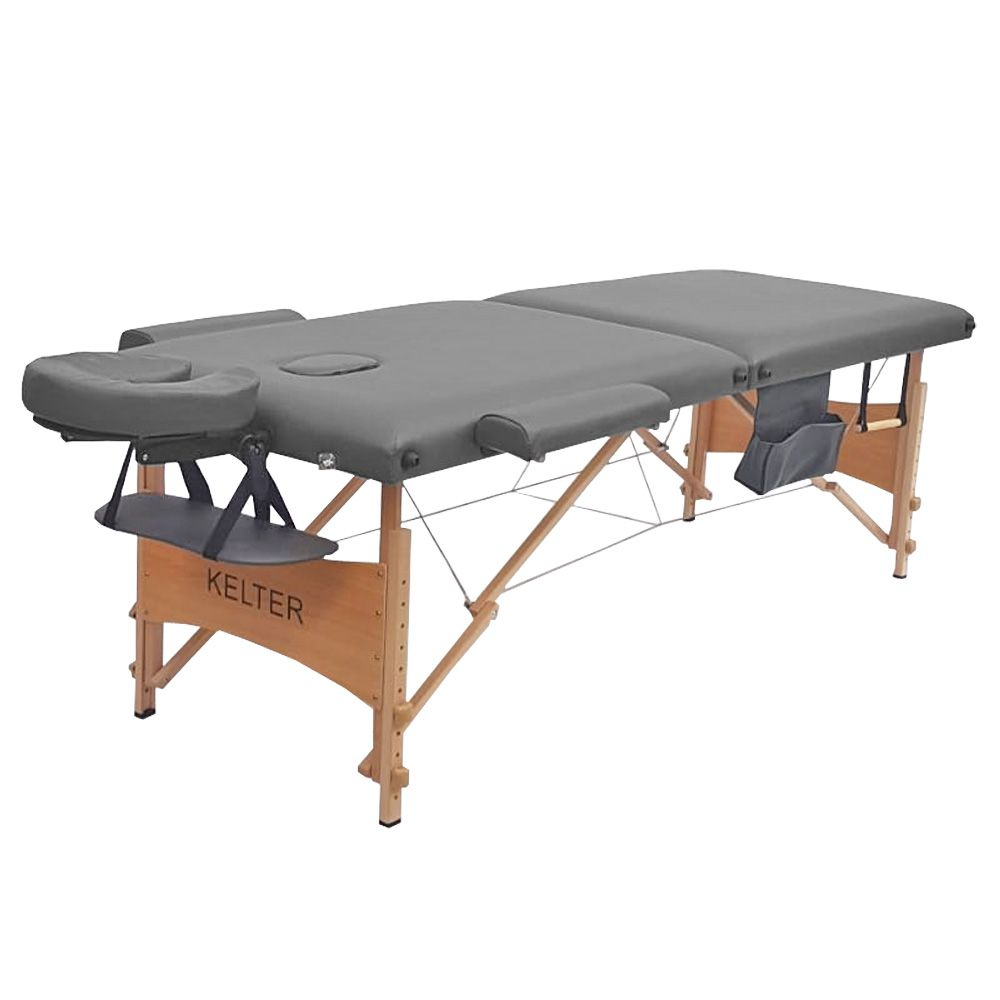 Mesa Maca De Massagem Divã Dobrável Com Regulagem De Altura Cinza Kelter K-M107