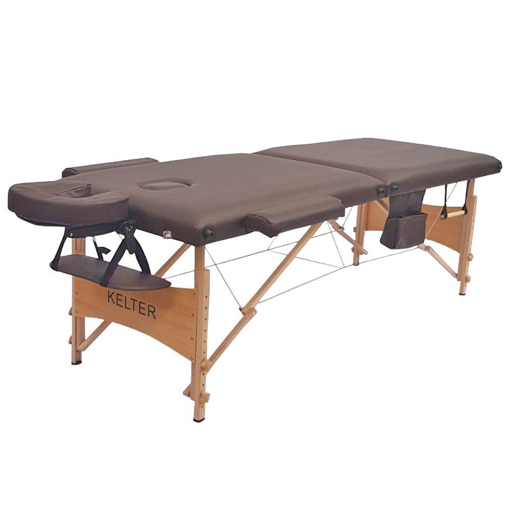 Mesa Maca De Massagem Divã Dobrável Com Regulagem De Altura Marrom Kelter K-M105