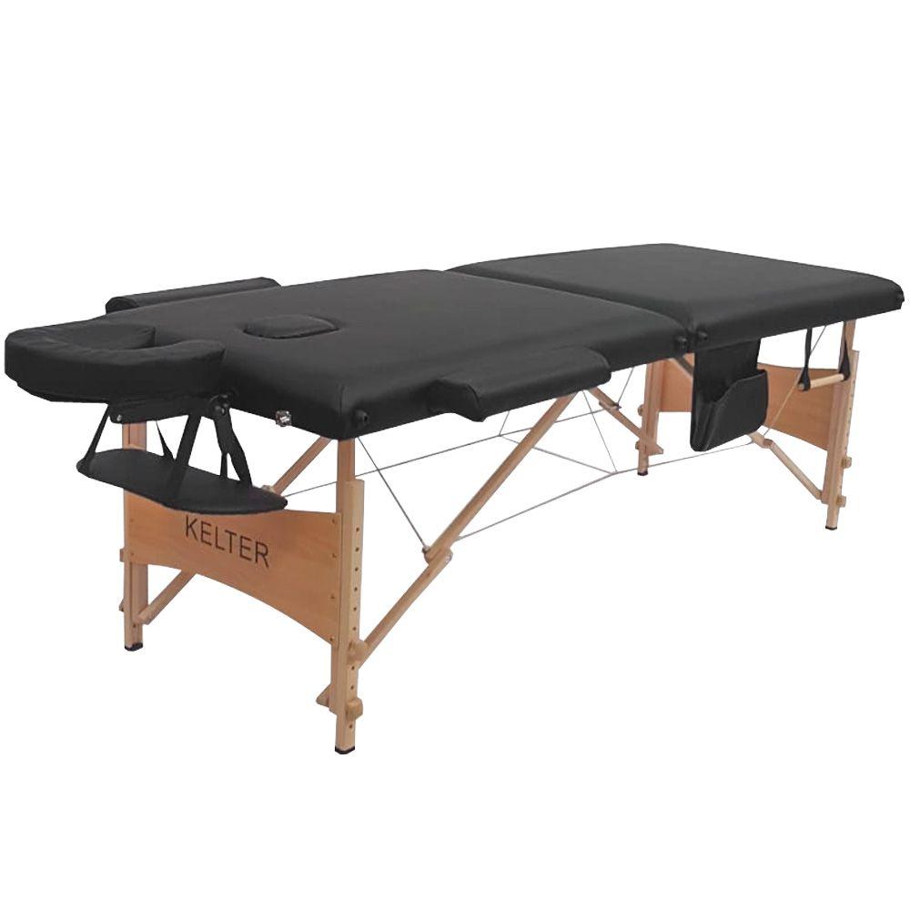 Mesa Maca De Massagem Divã Dobrável Com Regulagem De Altura Preta Kelter KM102