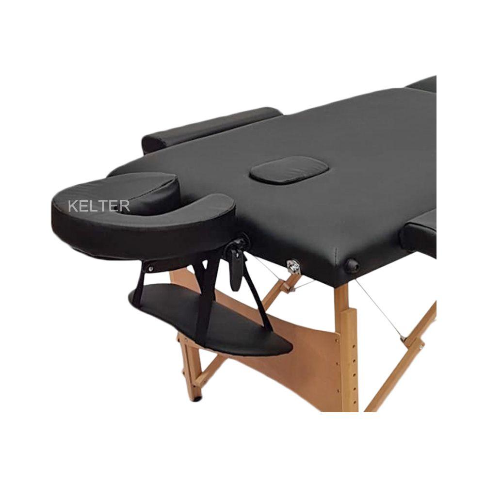 Mesa (Maca) De Massagem Dobrável Com Orificio e Regulagem De Altura Preta K-M102