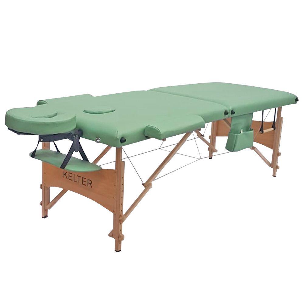 Mesa Maca De Massagem Divã Dobrável Com Regulagem De Altura Verde Kelter KM104