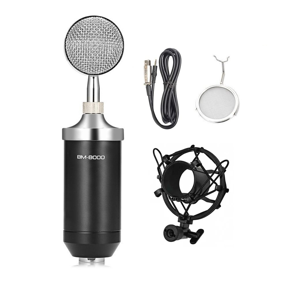 Microfone Estúdio BM8000 Condensador Preto BM-8000