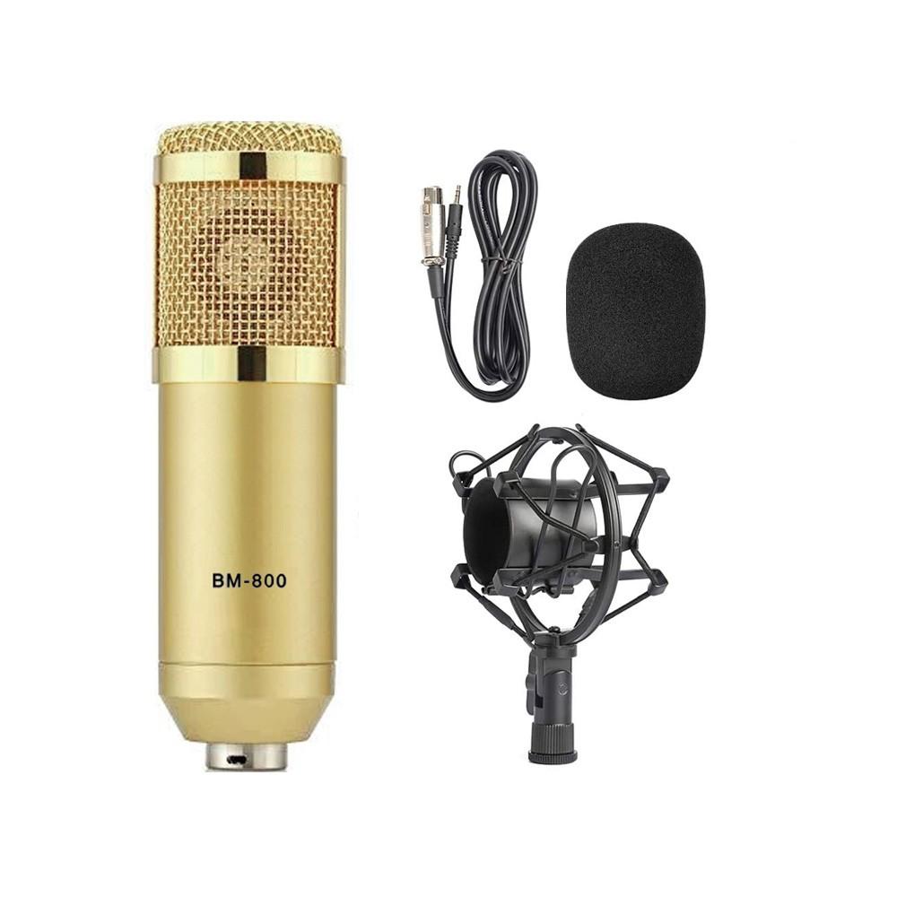 Microfone condensador BM800 dourado
