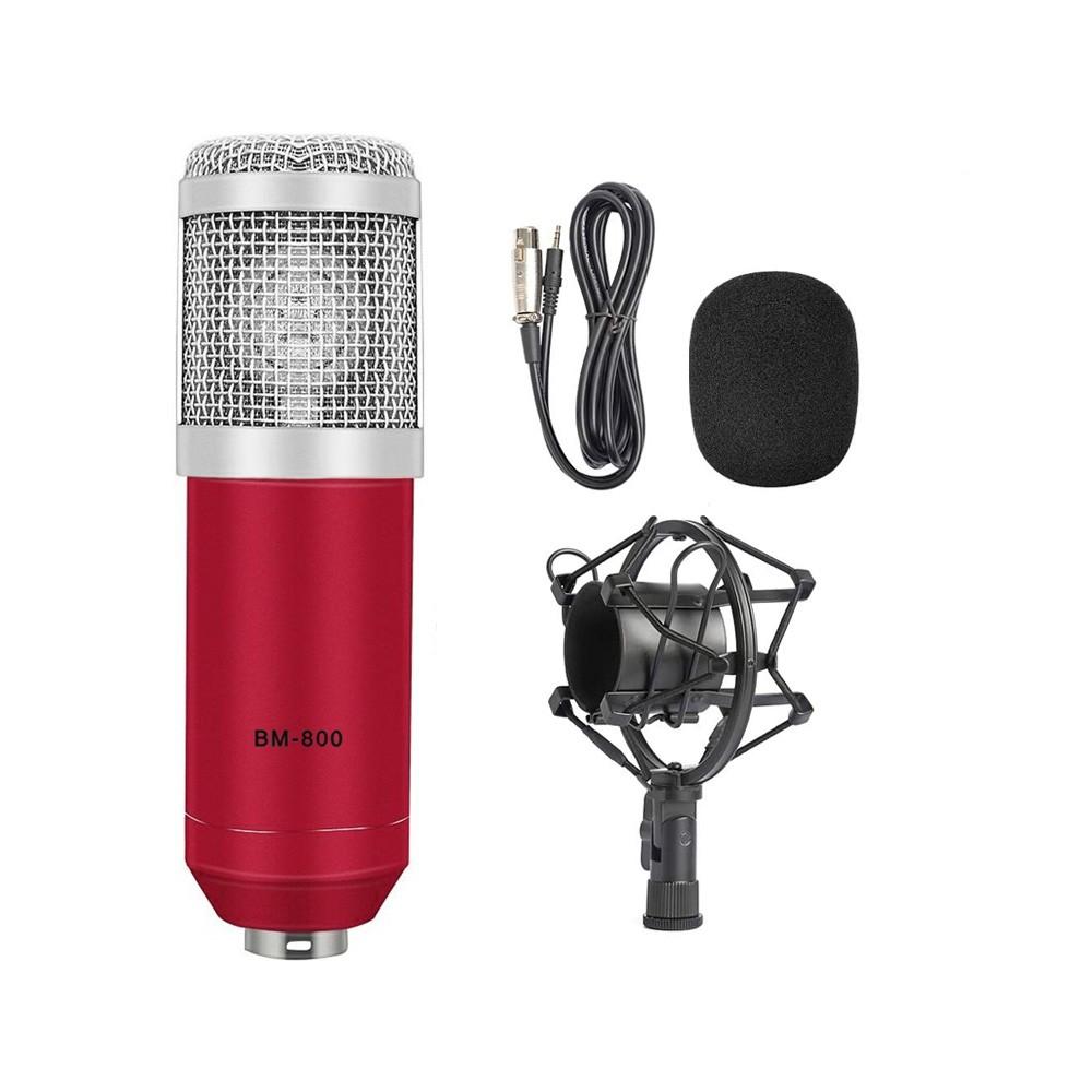 Microfone Estúdio Bm-800 Condensador BM800 Vermelho