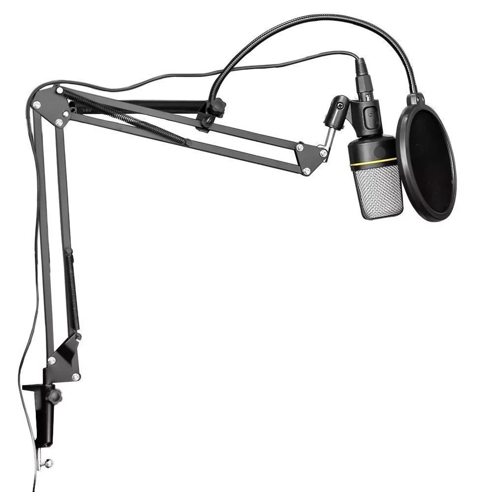 Microfone SF-920 Estúdio + Mini Tripé + Braço + Pop Filter Kelter