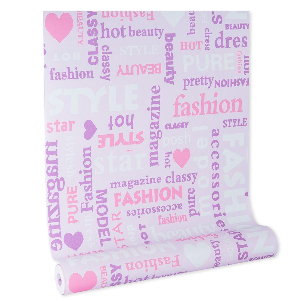 Papel de parede infantil rosa vinílico texturizado menina kids 39123