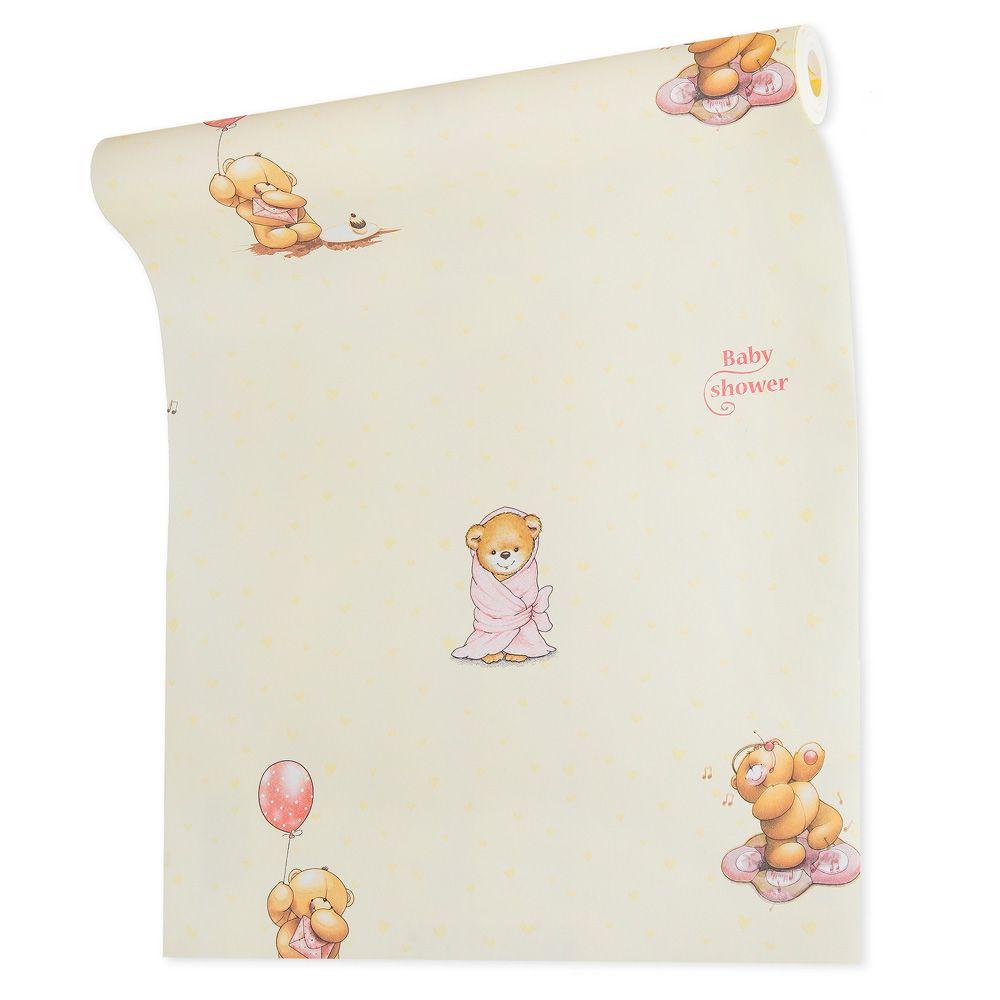Papel de parede infantil vinílico texturizado ursinho criança bebê 39131