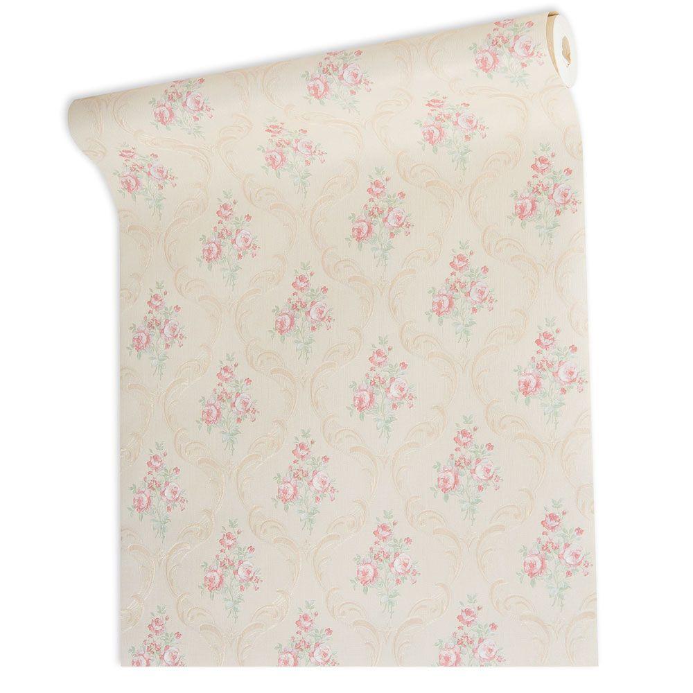 Papel De parede vinílico texturizado arabesco floral 5637