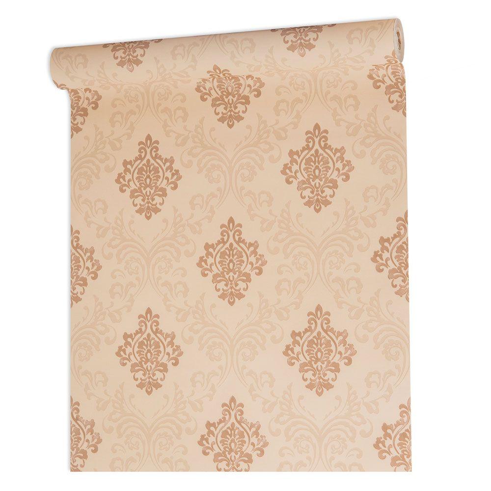 Papel De parede vinílico texturizado arabesco sala 210127
