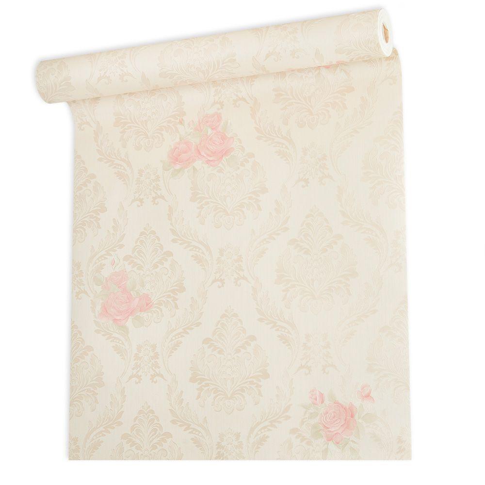 Papel De parede vinílico texturizado arabesco floral 210143