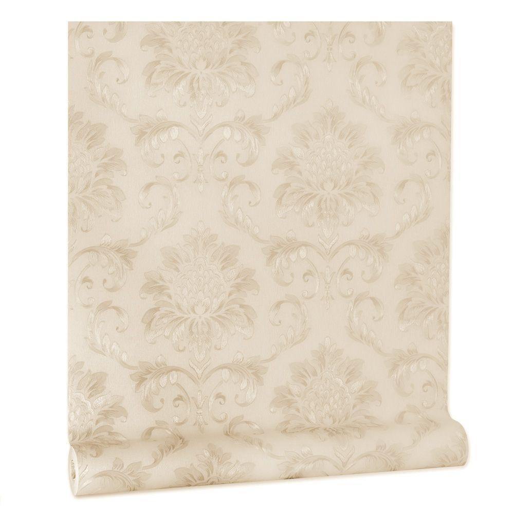 Papel De parede vinílico texturizado arabesco sala 5611