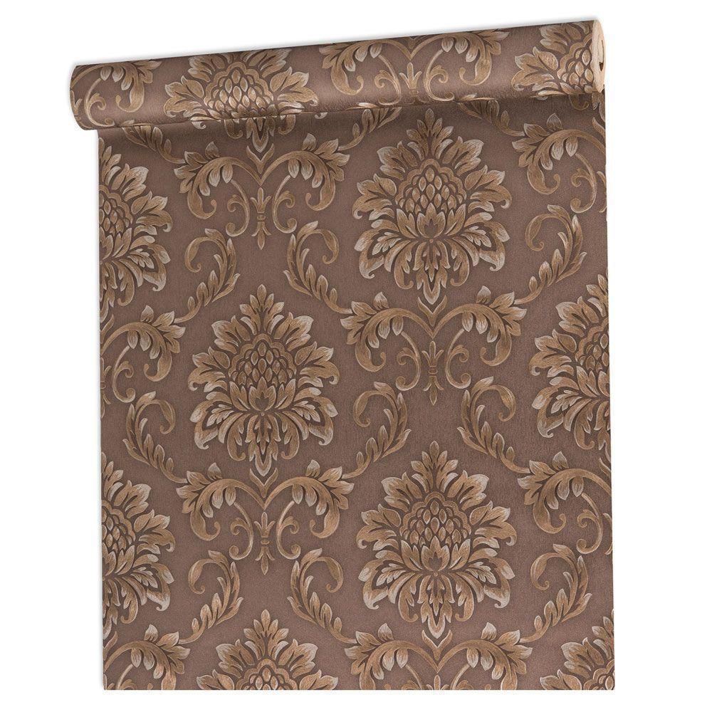 Papel De parede vinílico texturizado arabesco sala 5617