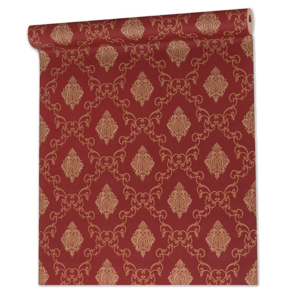 Papel De parede vinílico texturizado arabesco sala 7958