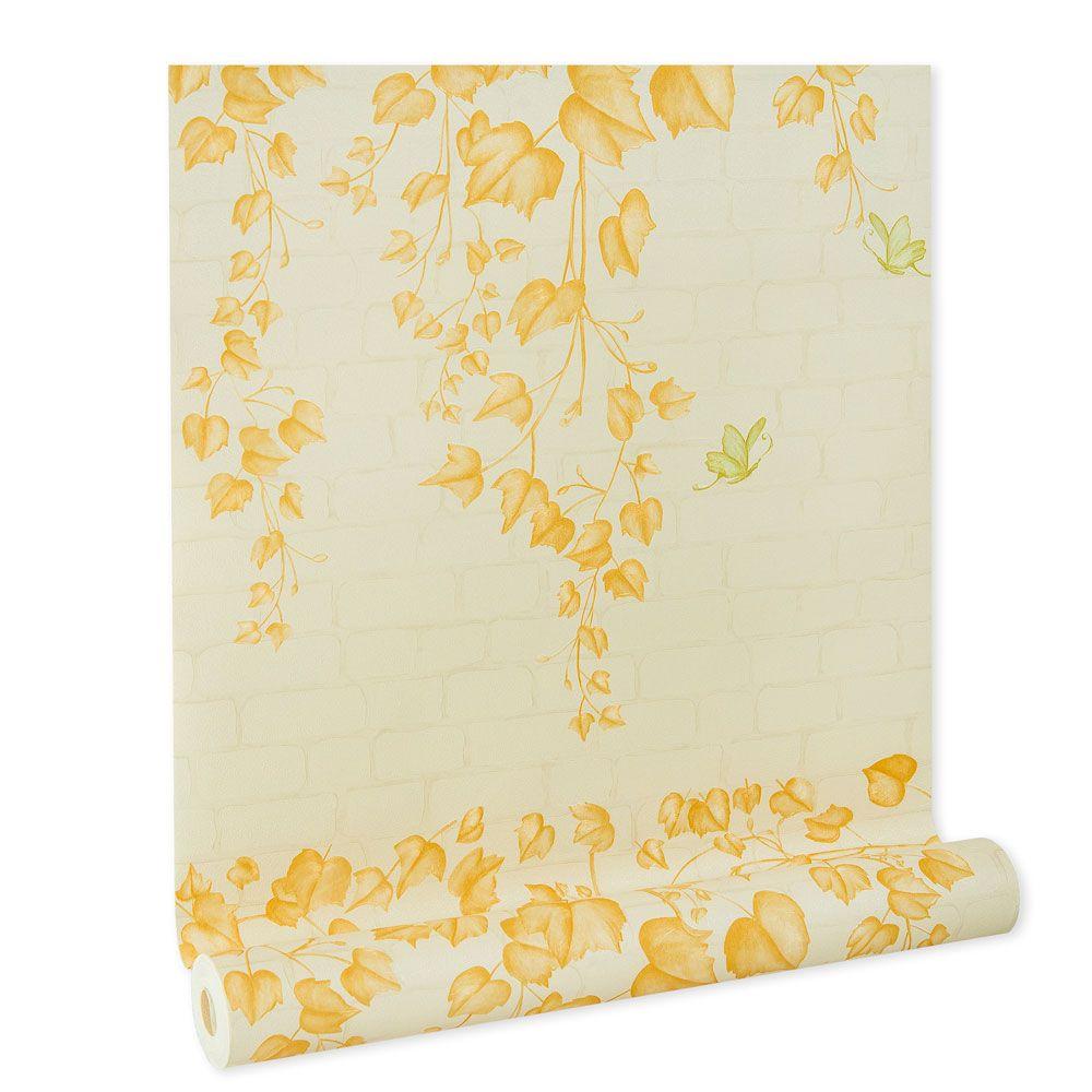 Papel De parede vinílico texturizado tijolo folhas 210372