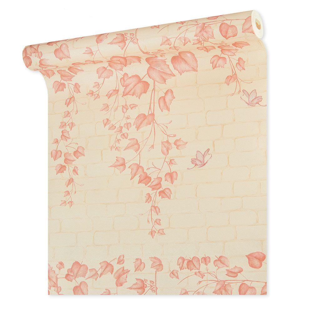Papel De parede vinílico texturizado tijolo folhas 210374