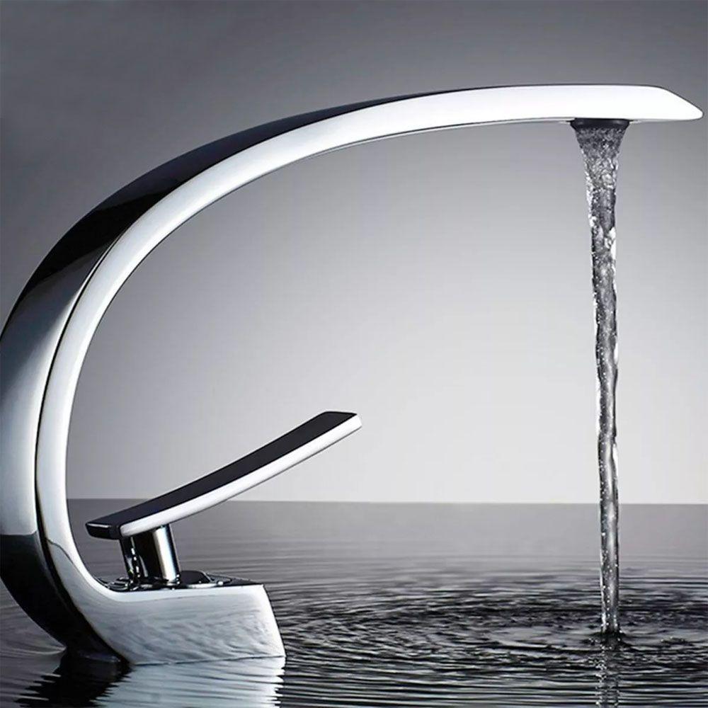 Torneira Curvada Misturador Banheiro Lavabo Luxo Kelter K-T202*