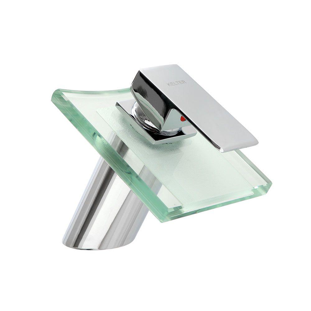 Torneira Quadrada Vidro Metal Cascata Baixa Banheiro Kelter K-T205*