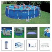 Piscina PVC Armação Redonda 24.311L  + Bomba Filtro + Escada + Proteção de Fundo - Intex 110v 24311
