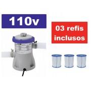 Bomba Filtrante Bestway 1250 LH 110v com 03 refis inclusos