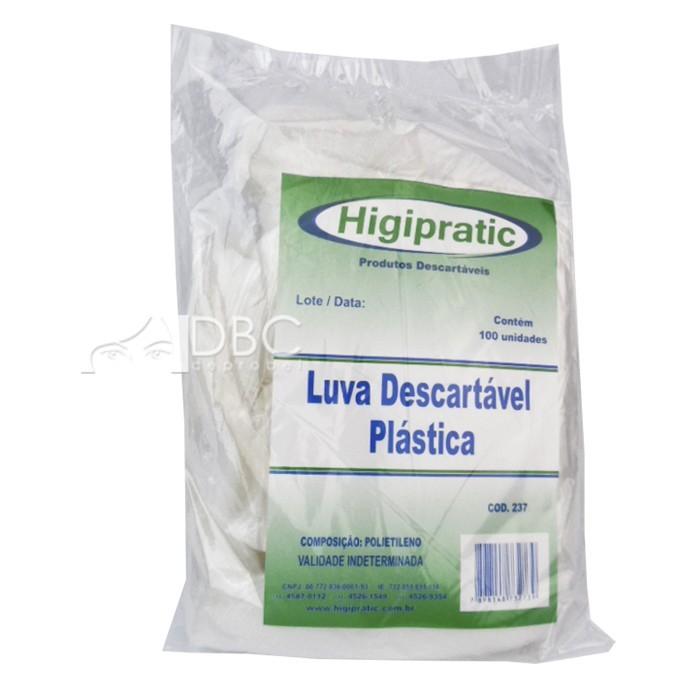 LUVA PLASTICA C/ 100 UNID.