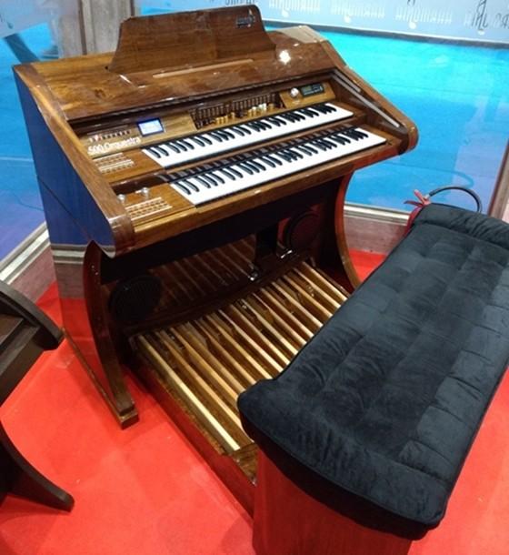 Órgão Eletrônico Harmonia HS 500 Orquestra Imbuia  - Teclasom Instrumentos Musicais Ltda