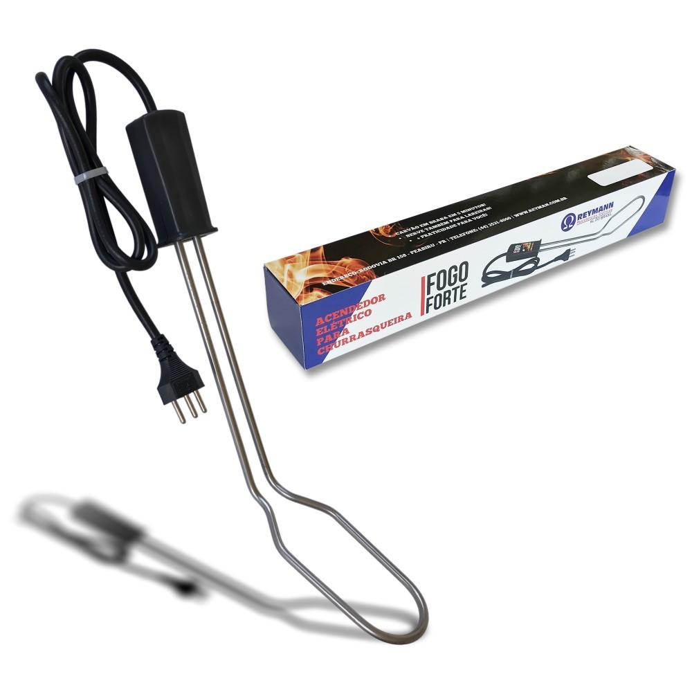 Kit Com 3 Acendedores Elétricos FOGO FORTE Para Carvão Churrasqueira e Lareira