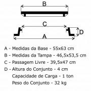 Tampão Zbp Articulado Passeio Para Rede De Distribuição Subterrânea (46,5X53,5Cm) Em Ffn  - FUNDIÇÃO VESUVIO
