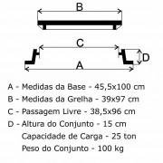 Grelha Boca De Lobo Gr-100 Articulada Cl300 (39X97Cm) Em Ffn  - FUNDIÇÃO VESUVIO