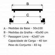 Grelha Boca De Lobo Articulada Cl400 (45X90Cm) Em Ffn  - FUNDIÇÃO VESUVIO