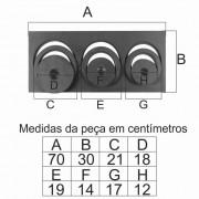 Chapa Para Fogão 3 Furos Com Redução Reta Completa  (70X30Cm)  - FUNDIÇÃO VESUVIO