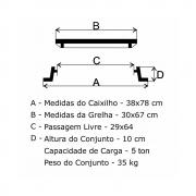 Grelha Boca De Lobo Articulada Cl250 (30X67Cm) Em Ffn  - FUNDIÇÃO VESUVIO