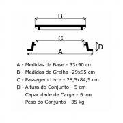 Grelha Boca De Lobo Gr-35 Articulada (29X85Cm) Em Ff  - FUNDIÇÃO VESUVIO