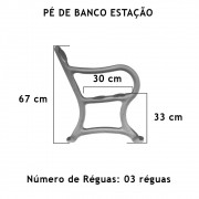 Par Pé De Banco Estação 03 Réguas  - FUNDIÇÃO VESUVIO