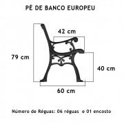 Par Pé De Banco Europeu 10 Réguas  - FUNDIÇÃO VESUVIO