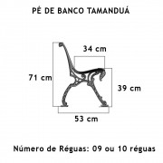 Par Pé De Banco Tamanduá 9 Réguas  - FUNDIÇÃO VESUVIO