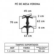 Pé De Mesa Verona 3 Pés   - FUNDIÇÃO VESUVIO