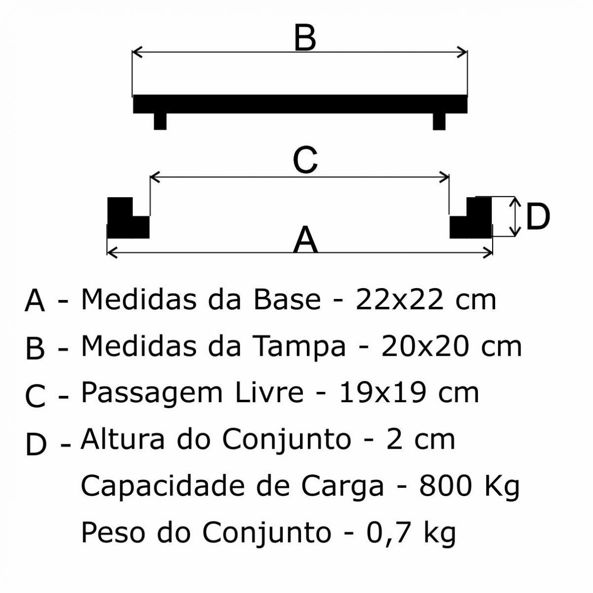Tampão 20X20Cm Simples Em Af - FUNDIÇÃO VESUVIO