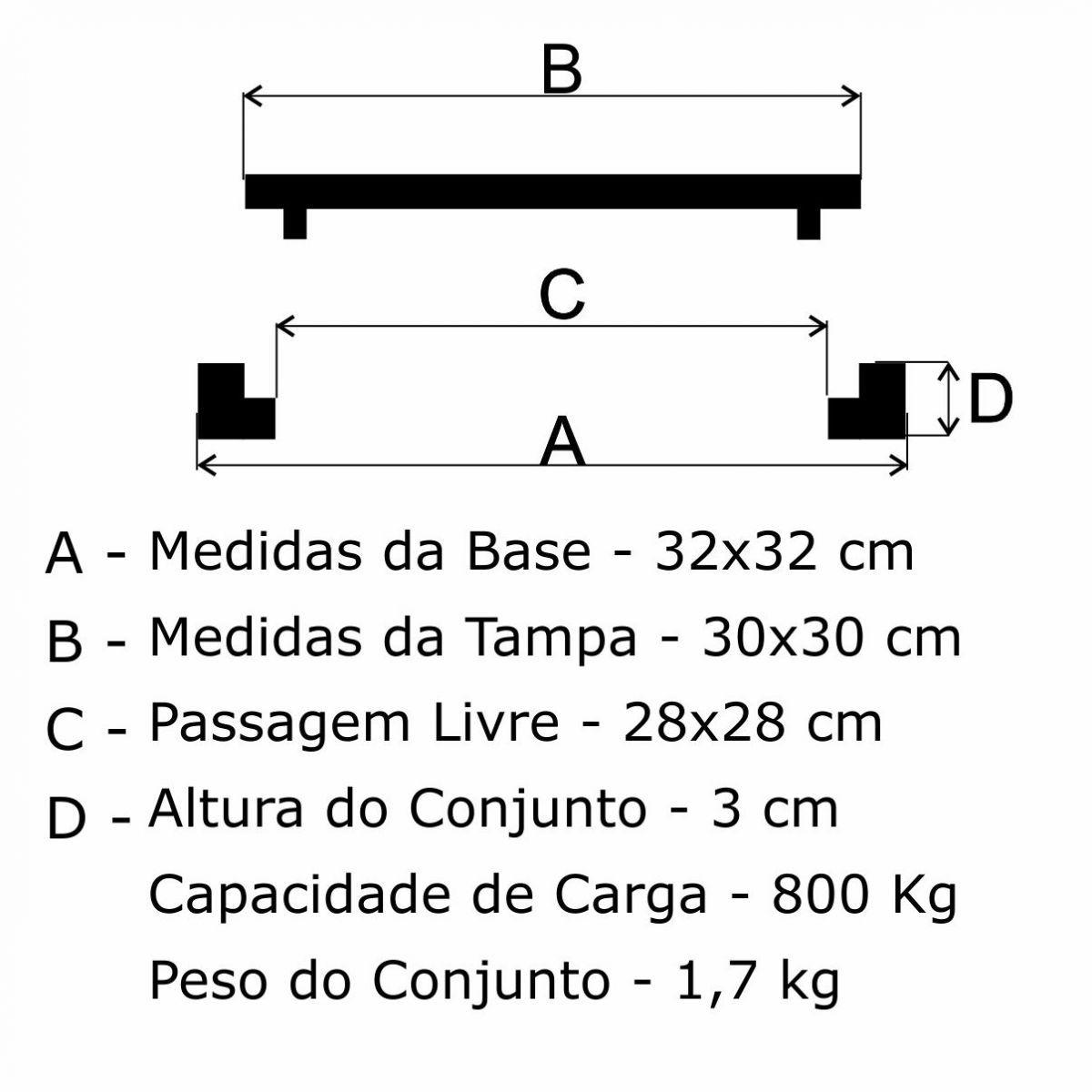 Tampão 30X30Cm Articulado Quadrado Em Af - FUNDIÇÃO VESUVIO