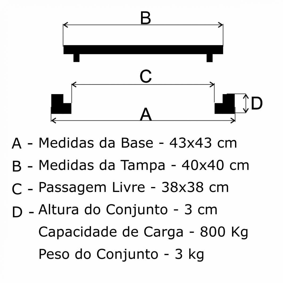 Tampão 40X40Cm Articulado P/C Em Af - FUNDIÇÃO VESUVIO