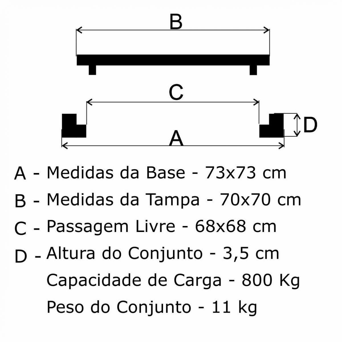 Tampão 70X70Cm Articulado P/C Em Af - FUNDIÇÃO VESUVIO