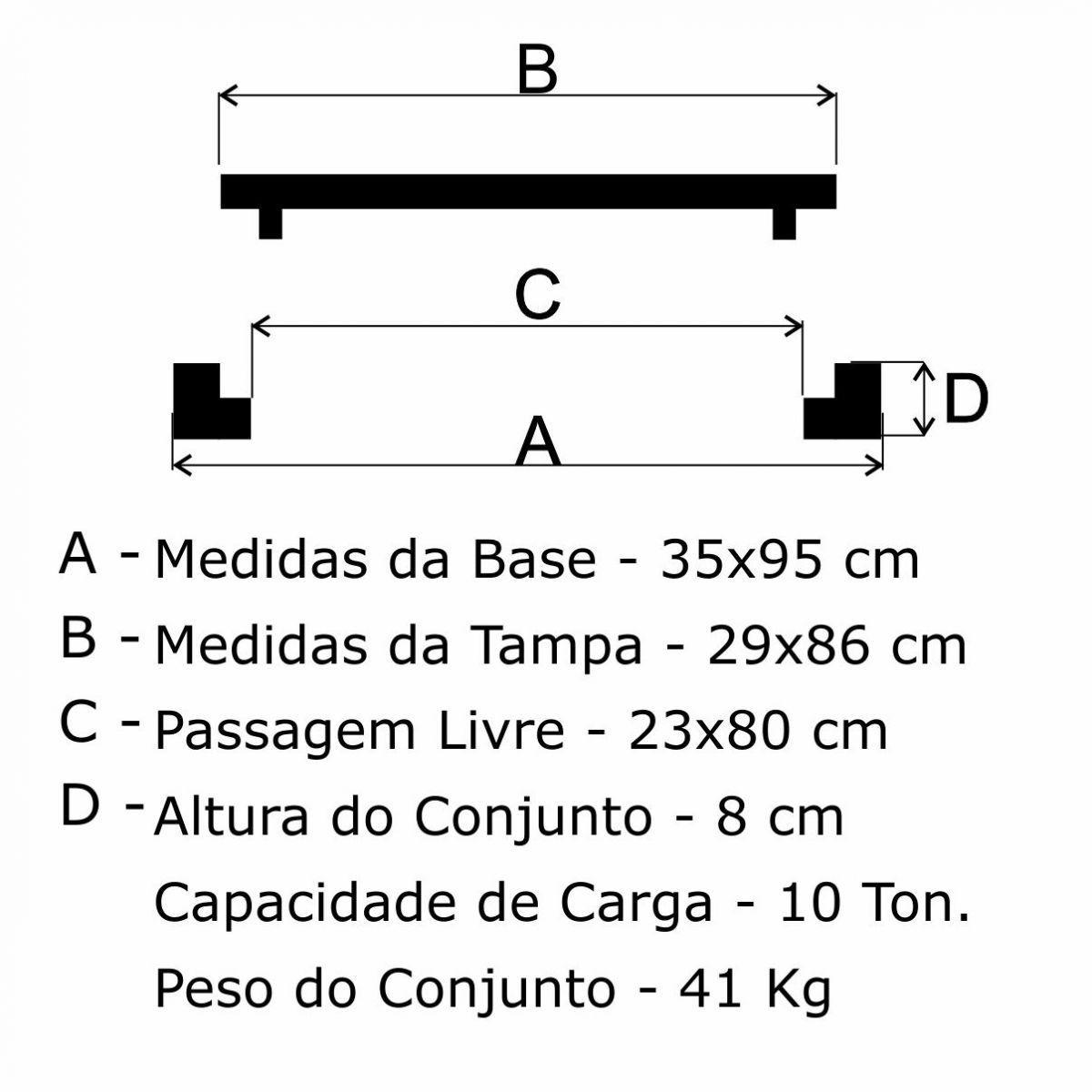 Grelha Boca De Lobo Simples Leve (29X86Cm) Em Ff - FUNDIÇÃO VESUVIO