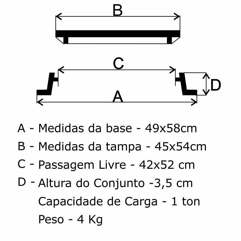 Tampão T-33 Simples (45X54Cm) Em Af - FUNDIÇÃO VESUVIO