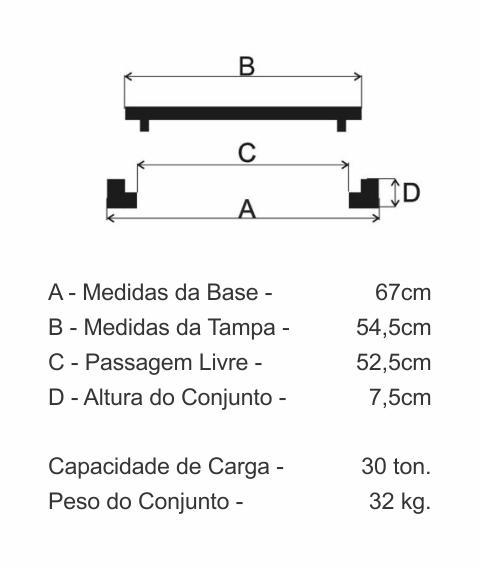 Tampão Dn500 Articulado Cl300 (54,5Cm) Em Ffn - FUNDIÇÃO VESUVIO
