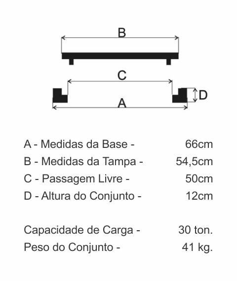 Tampão T100 Articulado Cl300 (54,5Cm) Em Ffn - FUNDIÇÃO VESUVIO