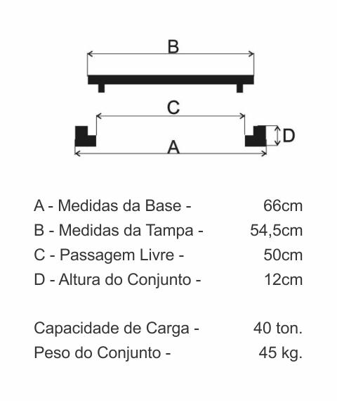 Tampão T100 Articulado Cl400 (54,5Cm) Em Ffn - FUNDIÇÃO VESUVIO