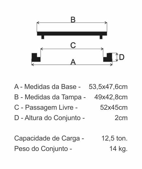 Tampão T33 Articulado Leve Cl125 (49X42,8Cm) Em Ffn - FUNDIÇÃO VESUVIO