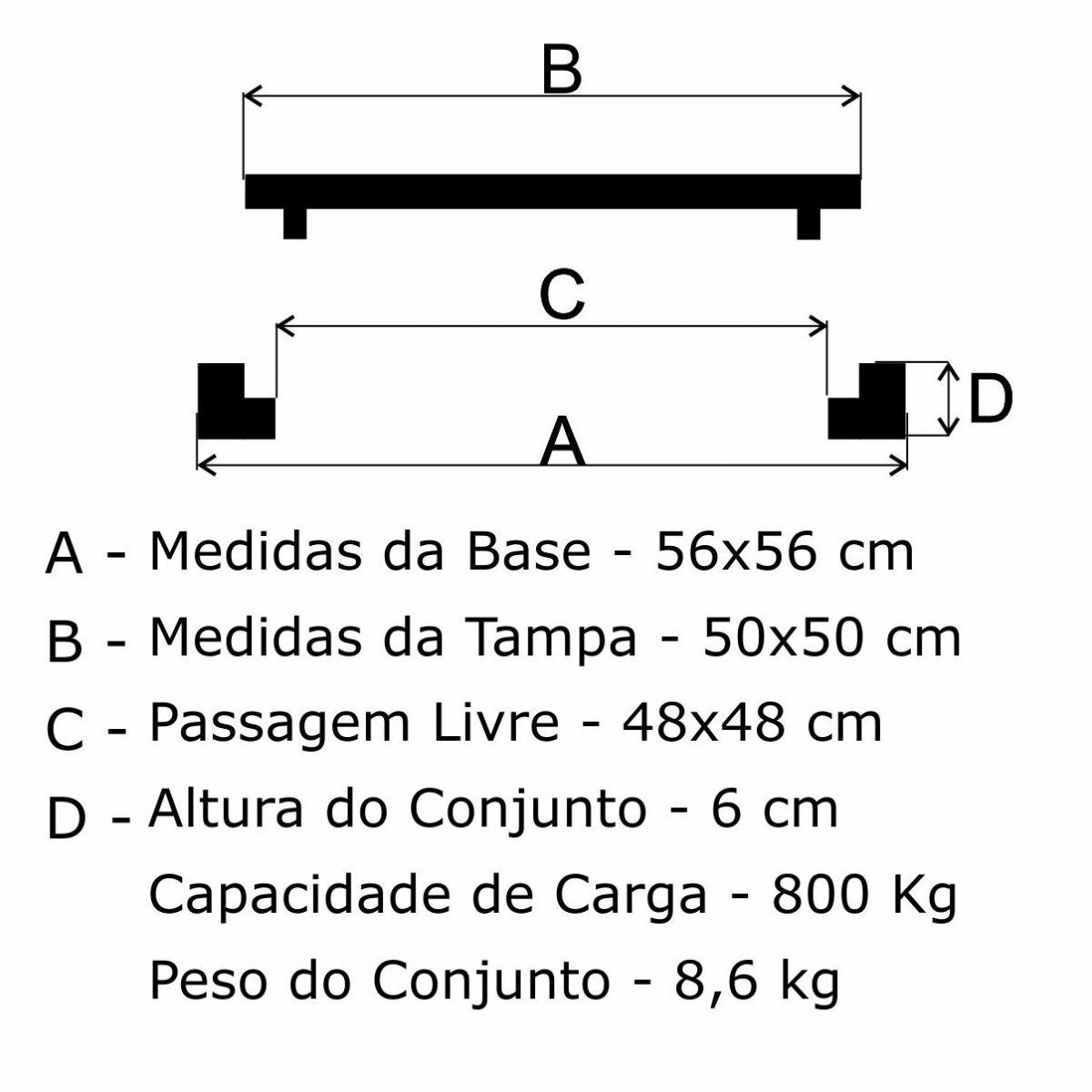 Tampão 50X50Cm Dupla Vedação Simples Em Af - FUNDIÇÃO VESUVIO