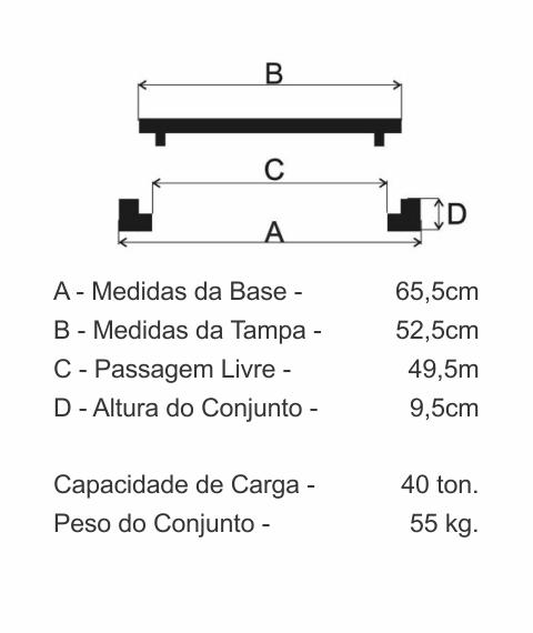 Tampão T55 Simples Cl400 (52,5Cm) Com 2 Travas Em Ffn - FUNDIÇÃO VESUVIO